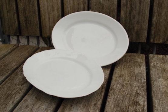 Platte weiss oval Porzellan